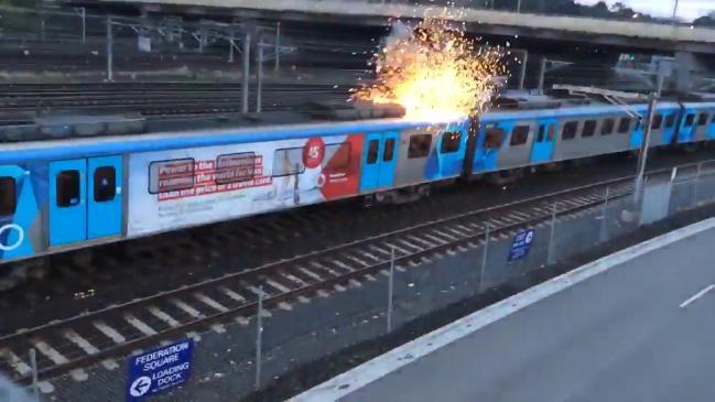 Roof of Melbourne train catches on fire